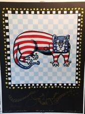 American Flag Kitty hand-pulled Serigraph by New Orleans Artist Jamie Hayes, cat