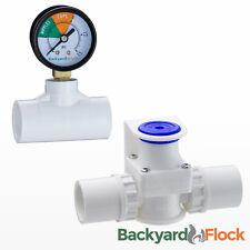 Low Pressure Regulator w/ Gauge For Chicken Nipples + Cups Watering System