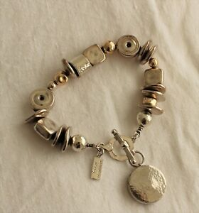 Silver Gold bracelet by Yaron Morhaim Chunky with Charm