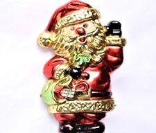 Santa Christmas Brooch Coat Sweater Pin Mid Century Holiday Costume Jewelry