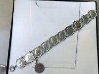 bracelet argent massif ancien pièces victoria georges v three pence
