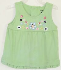 babyGAP Girls Size 12-18 Months Green Embroidery Sleeveless Tops Blouse