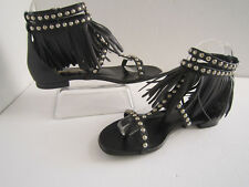 YSL BLACK NAPPA LEATHER FRINGE SILVER STUDS THONG FLAT BUCKEL SANDAL 35 1/2 Us 5