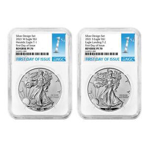 Presale - 2021 Reverse Proof American Silver Eagle Designer 2pc Set NGC PF70 FDI
