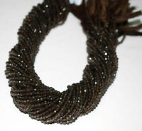 "Brown Smoky Gemstone 3/3.5mm Rondelle Faceted Loose Beads 13"" 1-5 Strand Beads"