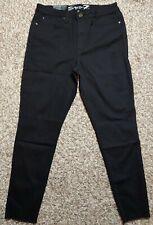 Seven7 Womens Mid Rise SKINNY Raw Hem Black Jeans Size 14 MY1806 Thespot917