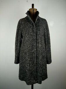 John Lewis Black Herringbone Wool Blend Coat UK 10 P to P:53cms L:86cms RRP179