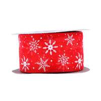 23M/Roll Snowflake Organza Ribbon Craft Gift Packing Wire Ribbon Festival Decor