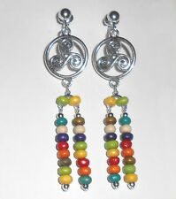CELTIC KNOT SPIRAL COLOURFUL BEADED DANGLES  CLIP ON EARRINGS  (hook options)