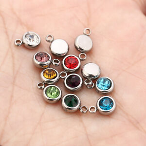 50pcs Stainless Steel Round 6mm Birthstone Crystal Charms Accessories Findings