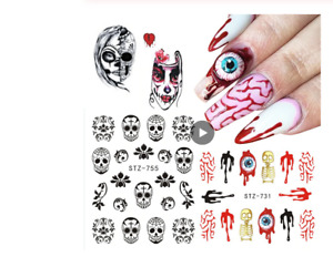 1pcs Gothic Water Transfer Nail Sticker Skull Ghost Clown Decals Art Manic Eye