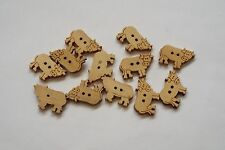 10pc 23mm Untreated Wooden Strawberry Shaped Craft Button 0960