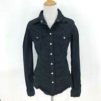 True Religion Pearl Snap Shirt Women's Size S Black Western Wrinkled Button Up