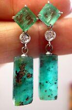 Fabulous! Artisianal Colombian Emerald and Diamond 14K Gold Drop Earrings