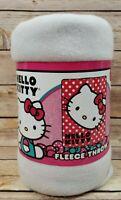 """Sanrio Hello Kitty Polka Dot 45"""" X 60"""" Fleece Throw Blanket Red Black White"""