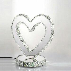 Modern Heart-shaped LED Crystal Table Lamp Diamond Desk Reading Lighting Decor