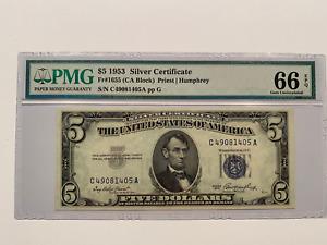 1953 $5 Silver Certificate FR 1655 PMG 66 EPQ C-A Block