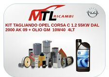 KIT TAGLIANDO OPEL CORSA C 1.2 55KW DAL 2000 AK 09 + OLIO GM  10W40  4LT