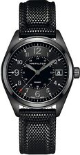 H68401735 Hamilton Unisex Khaki Field Black Dial Quartz Black Rubber Strap Watch