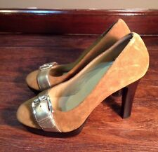 Women's Michael Kors Leather Suede High Heels Size 7.5 Buckle Super Cute!