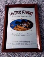 Vintage SOUTHERN COMFORT Painted Bar Mirror Wooden Frame Made in England DECENT!