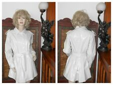 Vtg 10 Shiny White PVC Vinyl Raincoat Patent Trench Coat Slicker Rain Jacket
