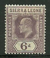 Album Treasures Sierra Leone  Scott # 72  6p Edward VII  Mint  Lightly Hinged