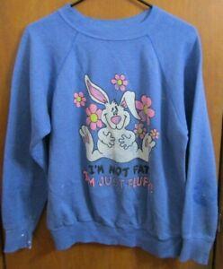 Vintage 80's L Not Fat Just Fluffy Raglan Bunny Rabbit Sweatshirt Retro Shirt