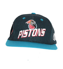 NOS Vtg 90s Logo Athletic Spell Out Detroit Pistons Basketball Snapback Hat Teal