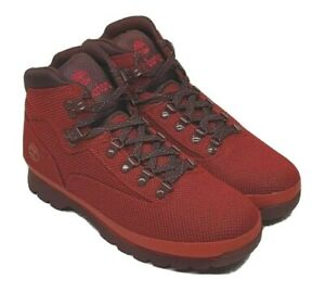Timberland Men's Cordura Nylon Euro Hiker Boot Red Size 12