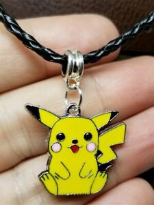 Pokemon Pikachu Charm on a Braided Black Leather Cord Necklace