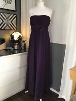 MONSOON size 10 dress maxi Purple Silk crinkle evening cruise Wedding Guest