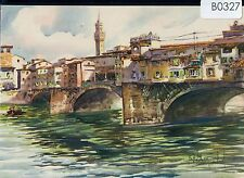 B0327cgt Italy Florence The Old Bridge Artist postcard