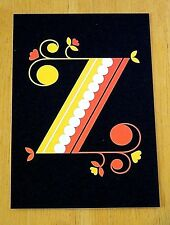 JESSICA HISCHE TYPOGRAPHIC POSTCARD ~ DAILY DROP CAPITAL LETTER Z ~ BLACK ~ NEW