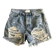 'ONE TEASPOON' Vintage BLUE High Waist 'LEGEND' Denim RIPPED Frayed SHORTS 28/10