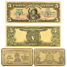 WR 1899 US $ 5 Dollar Gold Banknote & Gold Clad Bar Conjunto de jefe indio