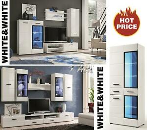 Salon moderne Ensemble meuble armoire TV Unité de Espace Blanc Lauren