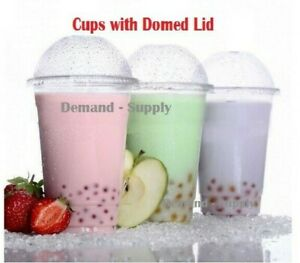 Smoothie Cups with Domed Lid Clear Plastic Party Cup Juice Slush Milkshake Drink