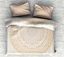Golden Duvet Cover Mandala Queen Size Hippie Comforter Pillow Case Cotton Set