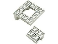 SWAROVSKI ELEMENT CRYSTAL DOOR HANDLE 48 X 48 PULL CHROME FINISH SCREWS INCLUDED