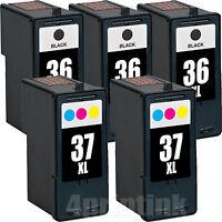 5 Pack 36XL 37XL Ink Cartridge for Lexmark Z2420 X3650 X4650 36 37