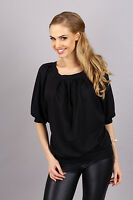 Elegant Women's Blouse Scoop Neck 3/4 Sleeve Pleated Top One Size 8-12 FA290