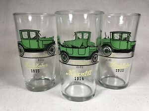 Vintage Antique Cars Maxwell 1914 & Studebaker 1915 Home Bar Glasses | LOT of 3