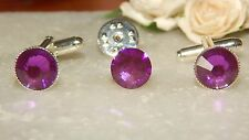 S/P Violet Purple Cufflinks & Cravat/Corsage/Tie/Scarf Pin-Wedding-Formal Wear