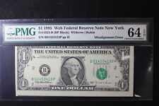1995 New York $1 FR #1923-B PMG 64 EPQ Misalignment Error