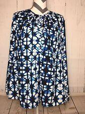 Tommy Hilfiger Women's Blouse Blue Black White Print Long Sleeves Medium M NWT