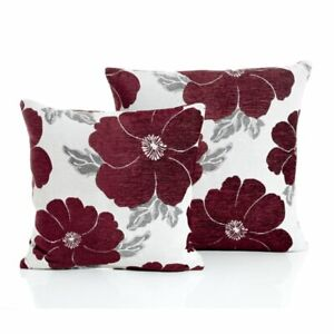"Poppy Chenille Cushion Cover - Aubergine (17"" x 17"")"
