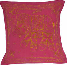 Pink Elephant Cushion Cover Indian Handmade Cotton Embroidered Sequin 38cm