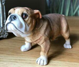 British Bulldog Ornament, Lifelike Dog Sculpture Figurine, Fawn & White English