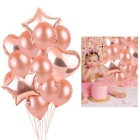 14pcs Rose Gold Foil Latex Balloon Set Helium Heart Birthday Party Wedding Decor
